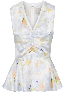 Jason Wu Woman Ruched Floral-print Silk-charmeuse Peplum Top Sky Blue