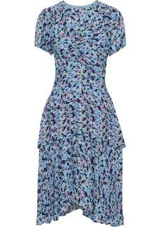 Jason Wu Woman Ruched Floral-print Silk-crepe Dress Light Blue