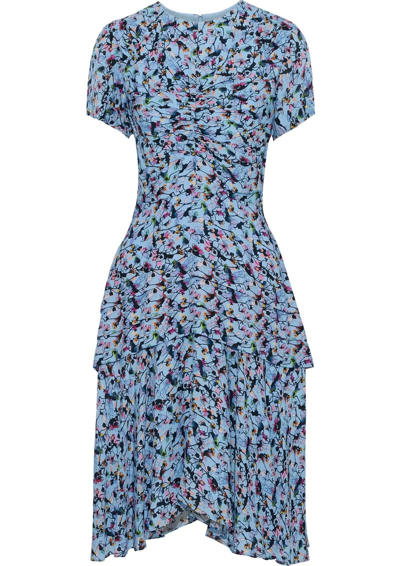 Jason Wu Woman Ruched Floral-print Silk-crepe Dress Light Blue