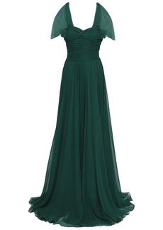 Jason Wu Woman Ruched Gathred Silk-georgette Gown Emerald