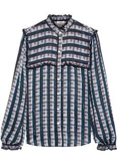 Jason Wu Woman Ruffle-trimmed Checked Burnout Chiffon Shirt Multicolor