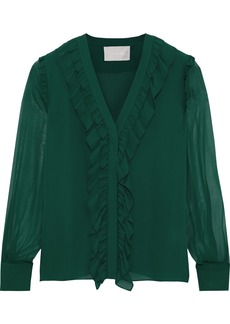 Jason Wu Woman Ruffle-trimmed Silk-chiffon Blouse Leaf Green