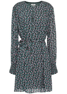 Jason Wu Woman Shirred Floral-print Crepe De Chine Mini Dress Black