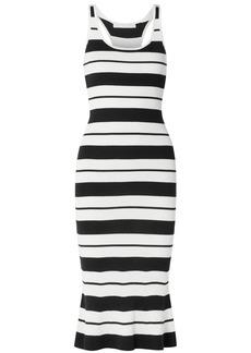 Jason Wu Woman Striped Ribbed Silk-blend Midi Dress Off-white