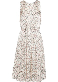 Jason Wu Woman Tie-back Pleated Floral-print Silk-charmeuse Dress Ecru