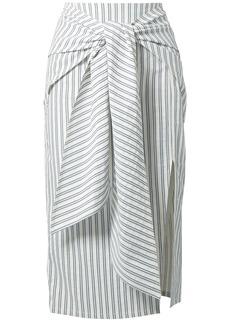 Jason Wu Woman Tie-front Striped Poplin Skirt White
