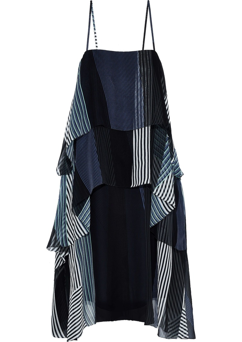 Jason Wu Woman Tiered Patchwork-effect Striped Silk-chiffon Slip Dress Navy