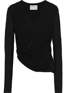 Jason Wu Woman Wrap-effect Draped Crepe Top Black