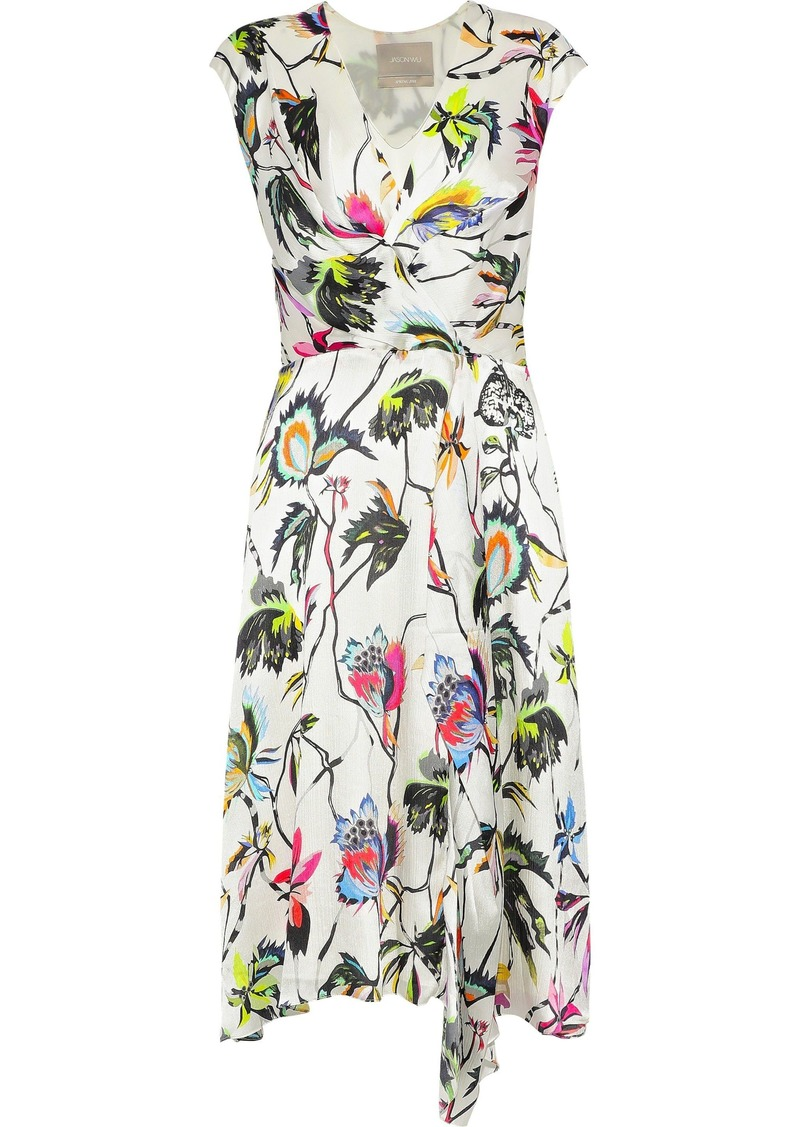 Jason Wu Woman Wrap-effect Floral-print Crinkled Silk Crepe De Chine Dress Ivory
