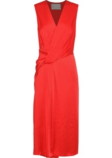 Jason Wu Woman Wrap-effect Gathered Satin Dress Red