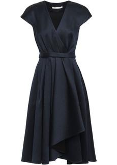 Jason Wu Woman Wrap-effect Pleated Satin-twill Dress Navy