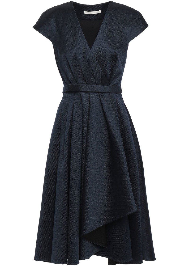 Jason Wu Woman Wrap-effect Pleated Satin-twill Dress Navy