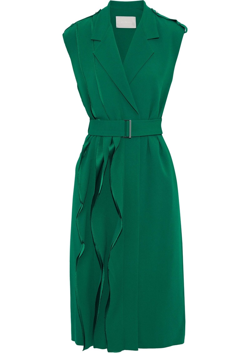 Jason Wu Woman Wrap-effect Ruffled Crepe Dress Jade