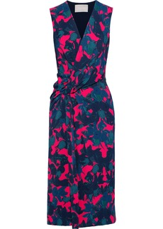 Jason Wu Woman Wrap-effect Twist-front Floral-print Satin-crepe Midi Dress Storm Blue