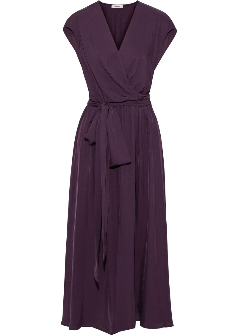 Jason Wu Woman Wrap-effect Washed-twill Midi Dress Dark Purple
