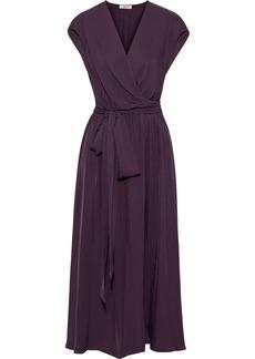 Jason Wu Woman Wrap-effect Washed-twill Midi Dress Dark Purple