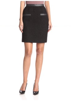 Jason Wu Women's Boucle A-Line Skirt with Leather Trim