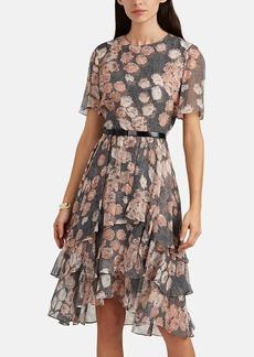 JASON WU Women's Floral & Prince Of Wales Checked Chiffon Belted Dress
