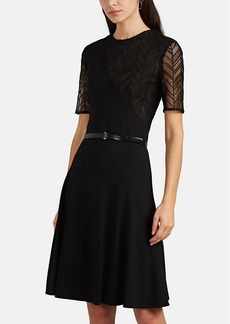 JASON WU Women's Lace-Inset Ponte Belted Fit & Flare Dress