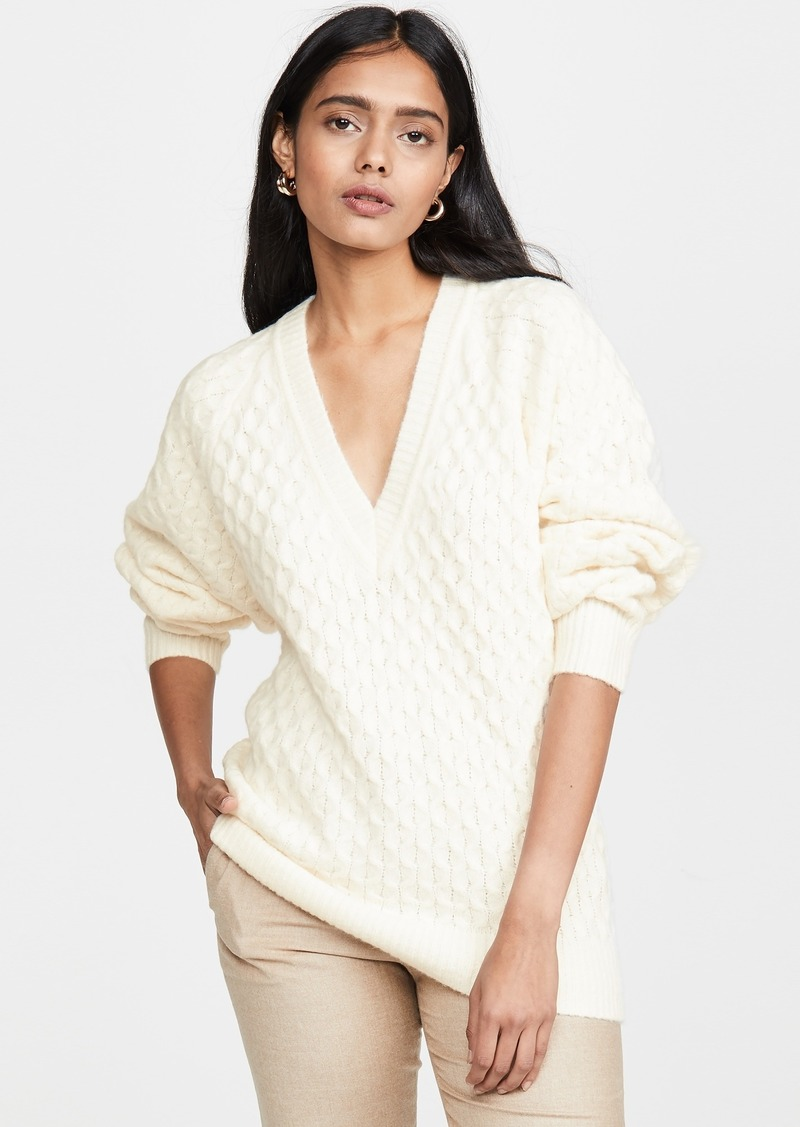 Jason Wu Wool Blend V Neck Sweater