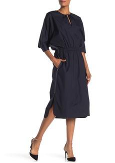 Jason Wu Keyhole 3/4 sleeve Poplin Midi Dress