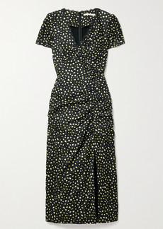 Jason Wu Lace-trimmed Gathered Floral-print Crinkled-satin Midi Dress