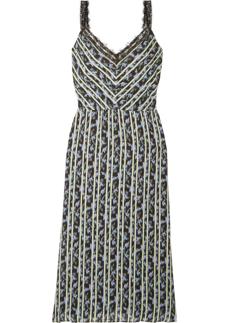 Jason Wu Lace-trimmed Printed Crepe Midi Dress