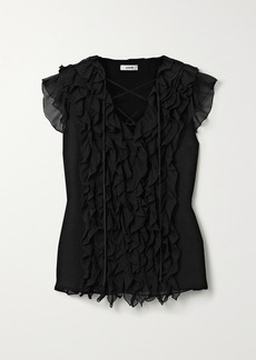 Jason Wu Lace-up Ruffled Silk-georgette Blouse