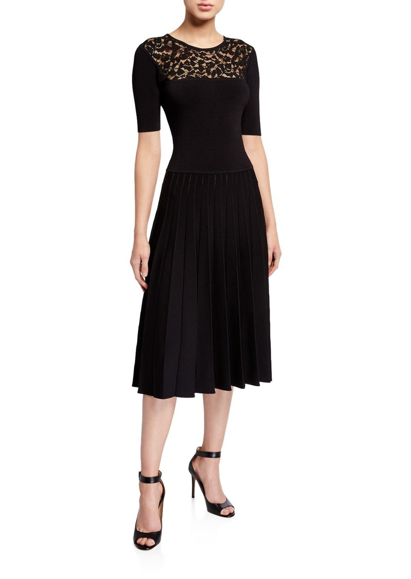 Jason Wu Lace-Yoke Half-Sleeve Pleated Dress