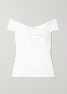Jason Wu Off-the-shoulder Ruched Cotton-poplin Top
