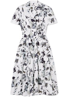 Jason Wu Pleated Floral-print Cotton-poplin Dress