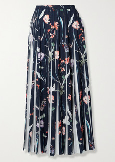 Jason Wu Pleated Floral-print Crepe Midi Skirt