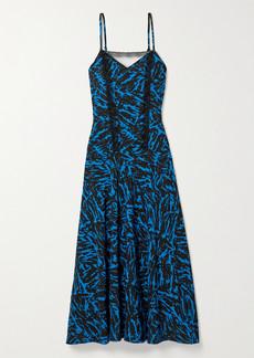Jason Wu Pleated Lace-trimmed Zebra-print Crepe Midi Dress