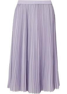 Jason Wu Pleated Striped Georgette Midi Skirt