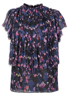 Jason Wu pleated trim floral blouse