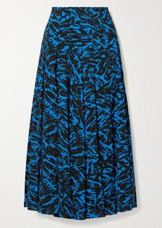 Jason Wu Pleated Zebra-print Crepe Midi Skirt