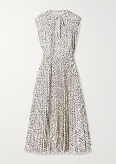 Jason Wu Printed Pleated Crepe De Chine Midi Dress