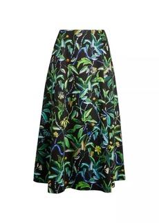 Jason Wu Printed Poplin A-Line Skirt