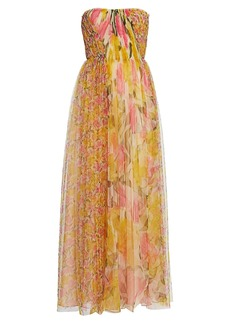 Jason Wu Printed Tulle Strapless Gown