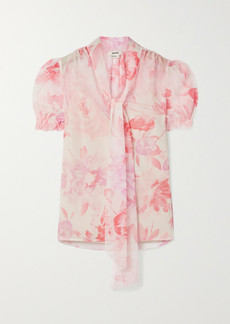 Jason Wu Pussy-bow Floral-print Crepon Blouse