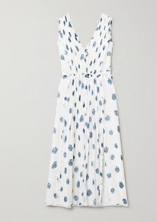 Jason Wu Ruffled Floral-print Silk-crepon Midi Dress