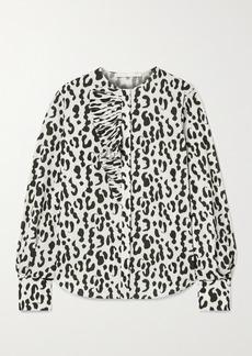 Jason Wu Ruffled Leopard-print Stretch-crepe Blouse
