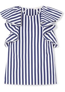 Jason Wu Ruffled Striped Cotton-poplin Top