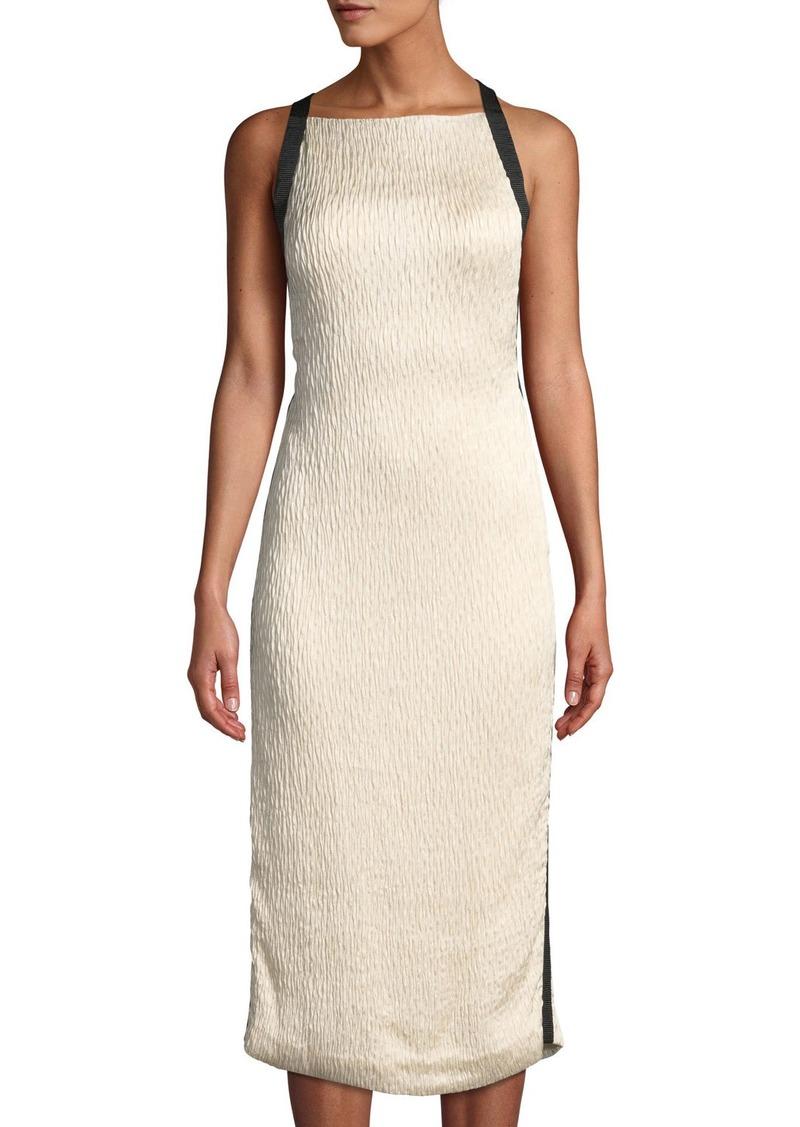Satin Cloque Sleeveless Cocktail Dress