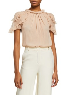 Jason Wu Silk Chiffon Ruffled-Sleeve Blouse