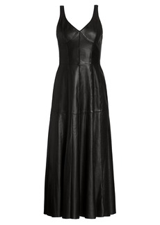 Jason Wu Stitched Leather Fit-&-Flare Dress