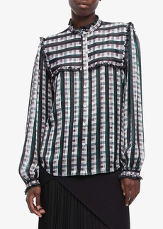 Jason Wu Striped Plaid Print Ruffle Blouse