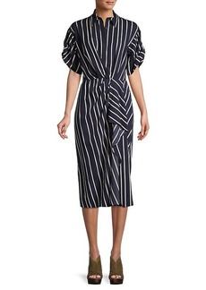 Jason Wu Striped Statement Sleeve & Front Twist Dress
