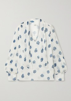 Jason Wu Tie-neck Floral-print Silk-crepon Blouse