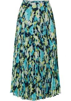 Jason Wu Tulle-trimmed Pleated Printed Chiffon Midi Skirt